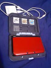 NINTENDO 3DS XL CONSOLE Flare Red 3 POKEMOM GAMES Mario Case 4GB Card Bundle