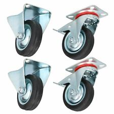 """3"""" 75mm Fixed + Swivel Castors with Brakes Wheels Trolley Furniture 4 Pack"""