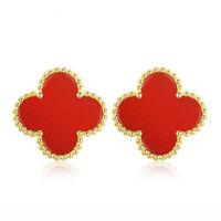 100% Pure 18K Yellow Gold Stud Earrings Red Onyx Clover Charm AU750E004YR