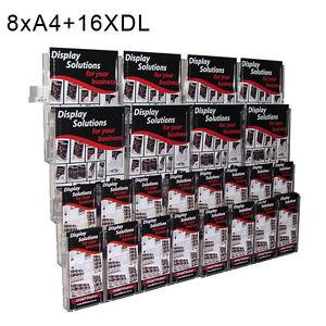 Wall Mount Brochure Holder Display Unit - 8XA4+16XDL