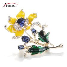 Fashion Women Brooch Rhinestone Enamel Crystal Yellow Flower Brooch Pins Jewelry