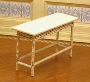 JHL Off-White Wicker Console Table - Artisan Dollhouse Miniature