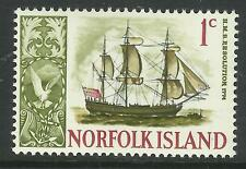 NORFOLK IS 1967 CAPTAIN COOK SHIP RESOLUTION 1v MNH