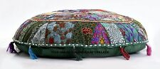ROUND FLOOR SEAT OTTOMAN POUF STOOL PILLOW COVER COTTON INDIAN DECORATION 32""