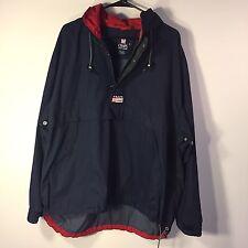 Vtg 90s Chaps Ralph Lauren 1/2 Zip Hooded Pullover Windbreaker Jacket Sz XL Blue