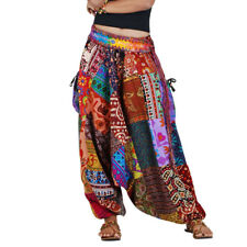 Thai Hippie Harem Aladdin Genie Boho Hip Hop Baggy Goa Gypsy Pants Trousers S M
