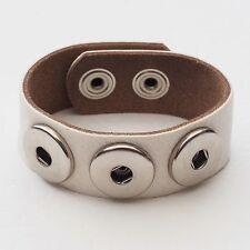 Pulsera de piel nuevo blanco pulsador pulsera cuero genuino/Cowhide señora Bracelet