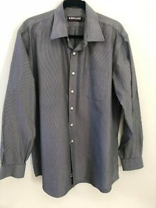 Kirkland Signature Mens Shirt, Grey & White Pinstripe, Non Iron, Size XL