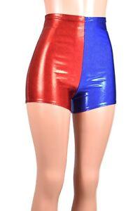 High-Waisted Metallic Red Blue Shorts XS S M L XL 2XL 3XL Harley Quinn cosplay