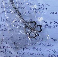Blessed Clover Pendant White Magic Charm loveluckjoymoney New wrapped silvertone