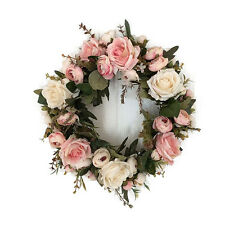 40cm Door hanging wall Window Rose Bud Flower Wreath Wedding Holiday Party