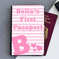 Personalised Custom Pink Girls Baby First Kids Children's Passport Holder Cover
