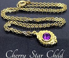 Antique Rolled gold rg purple faceted set pendant on chain necklace