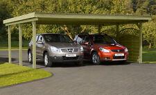 Doppelcarport 6x5 m Carport Garage Holz Unterstand Flachdach Pfosten 12x12 cm