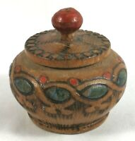 Pyrography Round Wooden Box Decorated Lid Art Vintage Painted Hand Vtg Handmade
