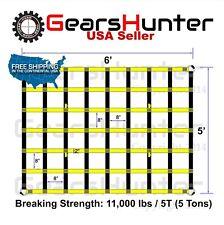 "5'x6' 2"" Strap Heavy Duty Trailer Pickup Truck Bed Cargo Net Cover 4 Metal Rings"