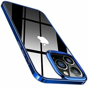 Crystal Clear iPhone 13 Pro Max Case Shockproof Protective Tough Cover Blue Rim