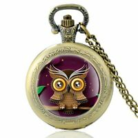 Retro Owl Antique Pocket Watch Quartz Movement Vintage Chain Necklace Pendant