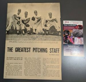 Sandy Koufax Signed Autograph Magazine Page From Sport Review 1964 JSA Certified