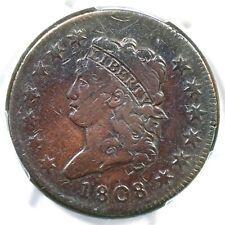 1808 S-278 R-3 PCGS F Details Classic Head Large Cent Coin 1c