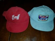 2 Vintage Banff Canada Souvenir. Tan and red corduroy Strapback Hats