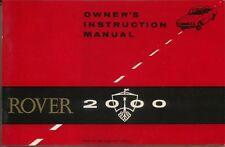 Rover P6 2000 original Owners Instruction Manual (Handbook) 1967 Part No 4804