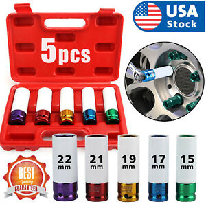 "5/Set 1/2"" Lug Nut Socket Impact Socket Set Thin Wall Socket Wheel Protector Set"