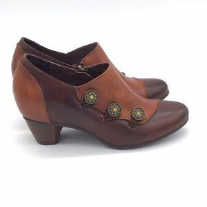 L'Artiste Spring Step Leather Shooties Greentea Leather Dark Brown 37 (US 6.5-7)