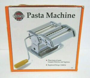 Norpro Pasta Machine 1049 Hand Crank Roller Cutter Table Clamp 3 Kinds of Pasta