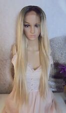 Human hair blend Ombre Dark Roots To Blonde 613 mix Lace Front Wig  26'