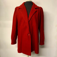 VTG Burnt Red Orange Pleated Wool Blend Coat 60s 70s Single Button Womens 11