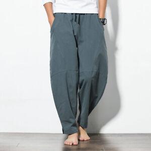 Mens Linen Cotton Harem Pants Drawstring Cargo Pant Loose Casual Pocket Trousers