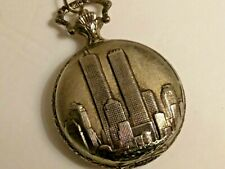 9/11 TRADE CENTER/TWIN TOWERS Pocket Watch Gold Tone (Needs New Battery)