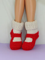 PRINTED INSTRUCTIONS-ADULT SUPER CHUNKY RIB CUFF SOCK SLIPPERS KNITTING PATTERN