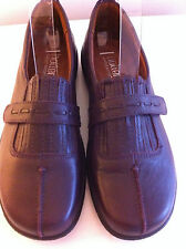 LADIES NEW HOTTER FESTIVAL PLUM LEATHER SHOES SIZE 6.5 (39.5)