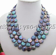 """3 Rows Black coin pearl necklace 17"""" -19"""""""