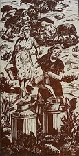 ARMENIAN ART GALLERY,1963 Linocut,Armenia,THE APARAN FARMS by ANGELA SARKISYAN