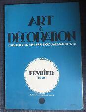 ART ET DECORATION revue mensuelle d'Art Moderne numéro de février 1929