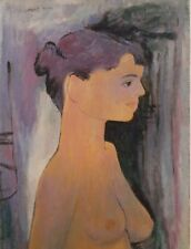 Long-Necked Young Nude Woman-Oil Painting-60s/70s-August Mosca