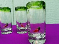 Tequila Shot Glasses Hand Blown GREEN RIM with CHILI PEPPER  Set of 4