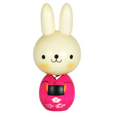 "Japanese Wooden Doll Creative Kokeshi Rabbit Pink Kimono Plum Blossom Design 5"""