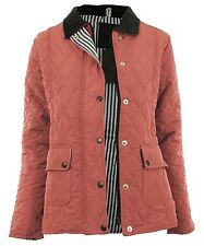 Ladies Size 14-20 New Coral Quilted Jacket Coat Zip Poppers Corduroy Collar