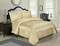 Jacquard Quilted Bedspread 3 PCs Set Bed Throw Double King Super King /Cream