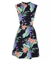Oasis UK Size 12 Black Multi Graphic Tropical Print High Neck Collar Dress