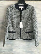 HUGO BOSS Kalaila Boucle Tweed Zip-front Blazer Jacket, US 12 - Black White Blue