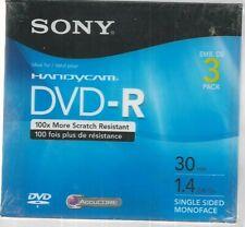 Sony Handycam Dvd-R 3 Pack 30 Mins. 1.4Gb Single Sided New Sealed/ Plus 1.