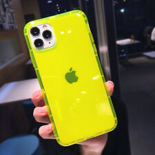 For iPhone SE 2020 11 Pro Max XS XR 7 8 Soft Neon Fluorescent Clear Rubber Case