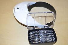 Stirnlupe Kopflupe Lupenbrille  2 LED s  freie Hände  5 Stärken mit Led Modul