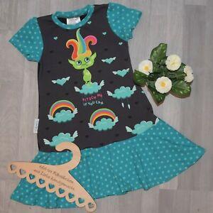 handmade Rüschenkleid Vollantkleid Kleid KITSCH ME TROLL Sterne Gr. 122/128
