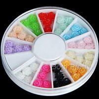 48Pcs/Wheel 6mm Resin 3D Nail Art Decoration Rose Flower Acrylic UV Gel Tips